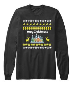 Mary Christmas Black Long Sleeve T-Shirt Front