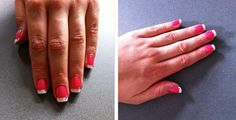 Pink manicure acrylics with classic white tips, all finished with pink rhinestones.