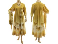 Boho hand dyed maxi dress in yellow summer long von classydress