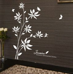 Attractive and Luxious Jasmine Flower Wall Sticker