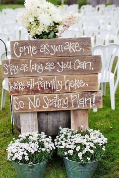 Rustic Wedding Signs - Barn Wedding Decor - Personalized Wedding Signs - this would work for any large party Wedding 2017, Wedding Goals, Fall Wedding, Diy Wedding, Wedding Planning, Dream Wedding, Cheapest Wedding Ideas, Casual Wedding Decor, Cheap Backyard Wedding