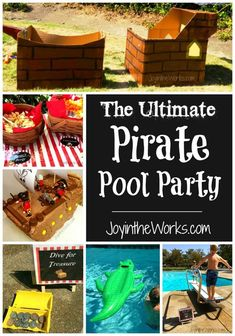 What better place to have a pirate birthday party than at the pool! Check out the games we played like wrestling crocodiles, walking the plank and diving for treasure.  We also played some regular pirate games too like cannon ball toss and sword battles in our DIY cardboard pirate ship.  Food and favor ideas are available here too! #pirateparty #poolparty #piratepoolparty #piratebirthday #summerbirthday #piratebirthdayparty