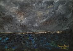 original oil painting, seascape, clouds, storm, abstract, clouds, dark, weather, sea, ocean, unique, waves, canvas, small, home, wall, art