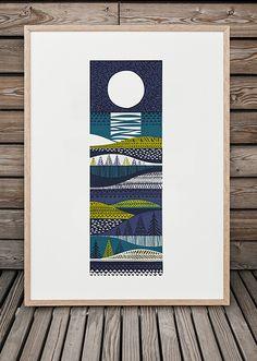 "Still lusting after a gorgeous print by talented screenprinter Sanna Annukka - ""Kainuu"" Linocut Prints, Art Prints, Decoration Plante, Scandinavian Folk Art, Grafik Design, Collage Art, Painting & Drawing, Printmaking, Screen Printing"
