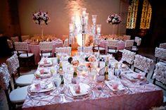Gorgeous Pink Rose wedding reception decor.   Photo Credit: RHPhotoarts
