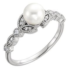 Freshwater Pearl and Diamond Leaf Ring (£480) ❤ liked on Polyvore featuring jewelry and rings