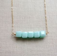 Mint Green Crystal Cube Necklace.