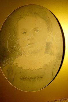 Antique Girl Portrait Painting Print 15 1/2 X