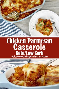 Chicken Parmesan Casserole - Keto, Low Carb & Gluten Free I bread chicken pieces, mix in my HomemadeMarinara Sauce, grated parmesan, top with shredded mozzarella and bake in the oven! #ketorecipes #keto #lowcarb #ketodiet #ketogenicdiet #lowcarbdiet #ketogenic #lowcarbhighfat #lowcarbrecipes #lchf #glutenfree #ketoweightloss #ketocookingchristian
