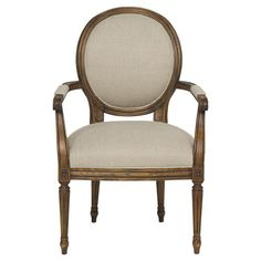 Chatton French Country Flax Linen Brown Ash Armchair