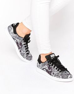adidas Originals X Farm Black Print Stan Smith Sneakers by adidas. Sneakers by Adidas, Textile upper, Lace-up fastening, Branded tongue and cuff, All-over floral print, Chunky sole, Gr...