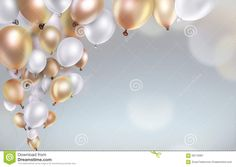 gold and white balloons on blurred light background Stock Photo ,