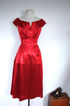 Vintage COUTURE 1950's Ruby Red Satin SHOW-STOPPER Gown. $250.00, via Etsy.