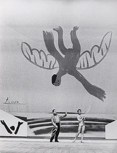 "A Picasso set designed for the Ballets Russes production of ""Icarus""."