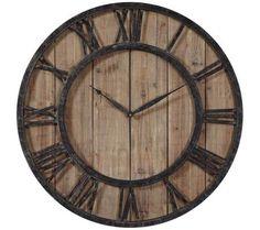 "Uttermost Powell 30"" Round Wooden Wall Clock | 55DowningStreet.com"