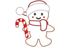 HTD Candy Cane Gingerbread Man with Scarf & Cap Applique Forum free