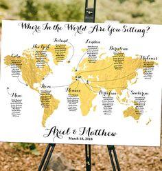 Custom World Map  Where in the World Seating
