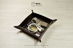 MICO leather valet tray by MicoHandicraft on Etsy, $140.00