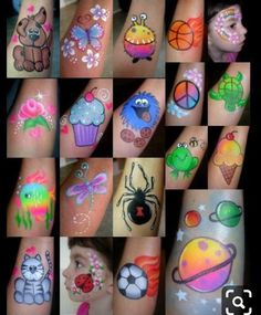 lots of great kiddy-style ideas - Cheek Art- Smiley Faces by Jo :) . Easy Face Painting Designs, Face Painting Tutorials, Face Painting Halloween Kids, Painting For Kids, Belly Painting, Tole Painting, Face Paint Makeup, Diy Face Paint, Cheek Art