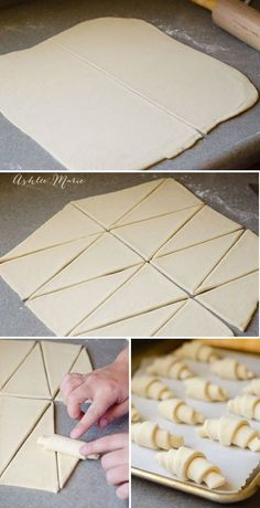 cutting large triangles and rolling them up is what creates the classic croissan. cutting large triangles and rolling them up is what creates the classic croissant shape Sweet Recipes, Real Food Recipes, Cooking Recipes, Cooking Dishes, French Croissant, Puff Pastry Croissant, Nutella Croissant, Crossant Recipes, Homemade Croissants