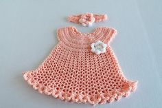 Baby Girl Peach Dress and Headband 3 to 6 by SnugableTouches, $22.00