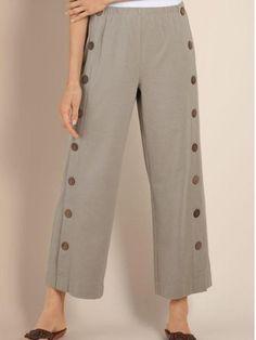 4aa07a15ff roselinlin 1 Women Bottoms Linen Buttoned White Bottoms Beach Pants, Ankle  Length Pants, Check