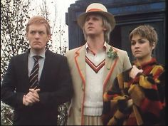 The Doctor and his companions, Vislor (left) and Tegan (right)
