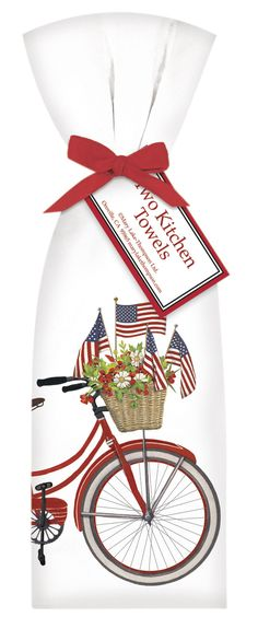 4th of July Bicycle with Basket Kitchen Towels
