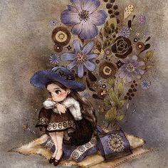 """557 次赞、 4 条评论 - 애뽈 (@_aeppol) 在 Instagram 发布:""""때로는 혼자 Me alone sometimes #illust #illustration #drawing #sketch #paint #flowerillustration #dark…"""""""