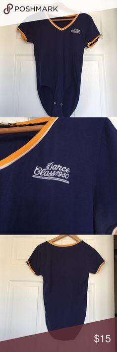 Bodysuit Navy Blue, Orange Trimmed Bodysuit. Short Sleeved. Graphic. Brand - Zara. Size Medium. Zara Tops Tees - Short Sleeve
