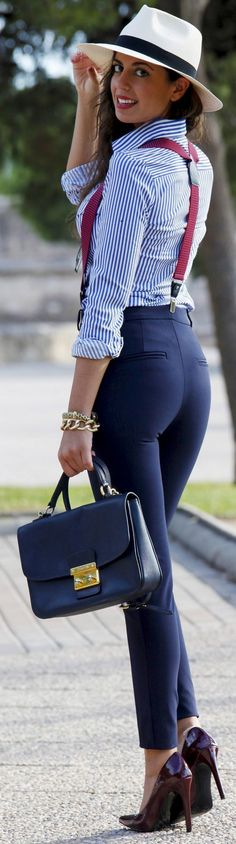 Jeans with suspenders and bowtie | Suspenders for Women ...