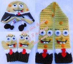 SpongeBob Hat Scarf Mitten CrochetBundle pattern on Craftsy.com