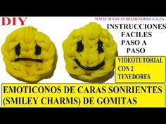 M EMOTICONOS. COMO HACER UNA CARA SONRIENTE DE GOMITAS (SMILEY CHARMS) CON DOS TENEDORES. TUTORIAL DIY - YouTube