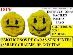 M EMOTICONOS. COMO HACER UNA CARA SONRIENTE DE GOMITAS (SMILEY CHARMS) CON DOS TENEDORES. TUTORIAL DIY - YouTube