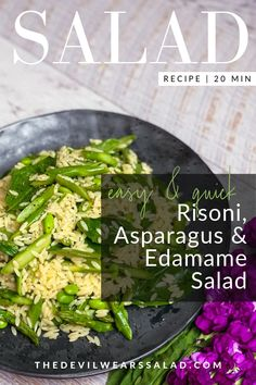 Risoni, Asparagus and Edamame Salad. Not all salads have to be packed with colour and overpowering flavour. We also love the understated salad and this risoni salad is one of our all-time favourites. Edamame Pasta, Edamame Salad, Watercress Salad, Asparagus Salad, Feta Salad, Asparagus Recipe, Risoni Salad, What Is Edamame, Bean Recipes