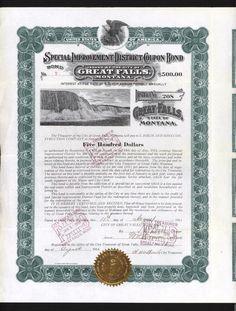 Great Falls Montana Bond Stock Certificate