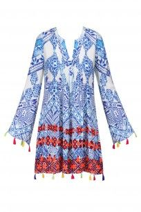 White and Blue Printed Flared Sleeves Dress #hemantandnandita #shopnow #ppus #happyshopping