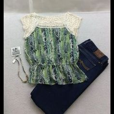 Feather Print Floral Crochet Chiffon Blouse New. Price: $20 Size: M