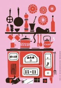 Supercute illustrations from Polkka Jam design studio in Finland. Their postcards and posters are from recycled paper. Gravure Illustration, Flat Illustration, Food Illustrations, Building Illustration, Up Book, Retro, Cat Art, Character Design, Design Inspiration