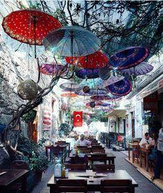 Foça / Türkiye, #Foça #turkiye, Umbrella Street, Umbrella Art, Travel Around The World, Around The Worlds, Unique Cafe, Destinations, Visit Turkey, Cafe Design, Istanbul Turkey