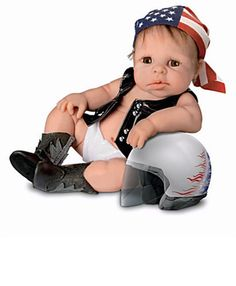 I am a Biker baby boy by CRAFTartesanias on Etsy Biker Baby, Puppet Toys, Puppets, Ashton Drake, China Porcelain, Porcelain Doll, Baby Dolls, Baby Boy, Trending Outfits
