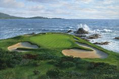 Original oil painting of Pebble Beach 7th hole by Richard Chorley. Fine golf art by Chorley.