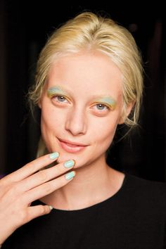 Nails + eye makeup. Try Butter London Fiver + POPS Pressed Eye Shadow in Cloud. gotbeauty.com