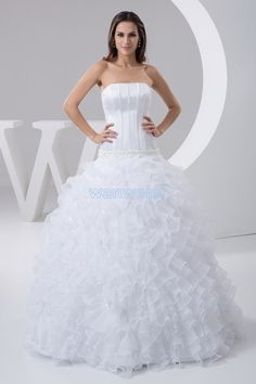 Floral Ball Gown Strapless Floor Length Organza White Wedding Dress With Cascading Ruffles(ZJ7262 )