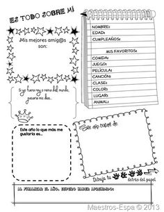 Recursos para maestros de español: Es todo sobre mi (organizador)