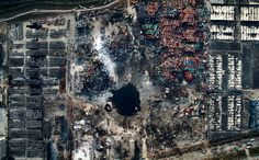 Aerial view of the destruction after the explosion at a container storage facility in Tianjin China Aug. 15 2015; Chen Jie [OS][2560 x 1589]