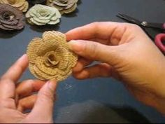 As promised... Lorinda shares how she makes her burlap roses.  These are also available for purchase at atwatermoon.etsy.com