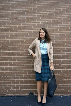 Plaid + Chambray Shirt + Trench Coat | Style On Target