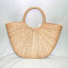 Vintage Natural Straw Beach Bag Handled Tote Carry All