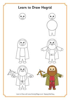 Learn To Draw Hagrid Caretaker Of Hogwarts School And Loyal Friend Protector Harry Ron Hermione Activity Village Is A Small Publishing
